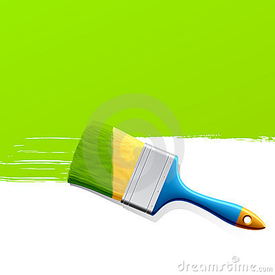 Free Brush With Green Paint Royalty Free Stock Photos - 10327648