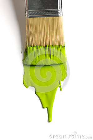 Free Brush With Green Paint Royalty Free Stock Image - 26185016