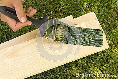 Brush work painting wood