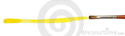Brush with yellow paint stroke