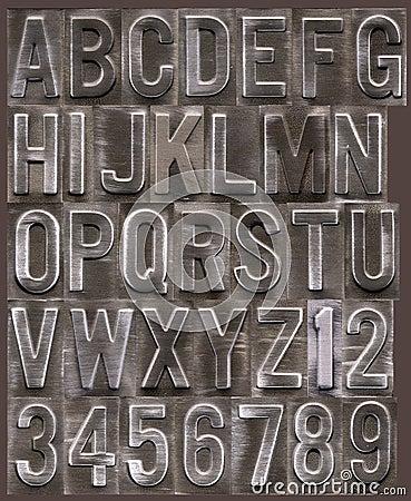 Brushed metal raised alphabet