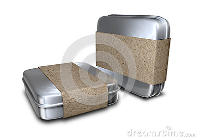 Brushed Metal Tins With Paper Sleeves
