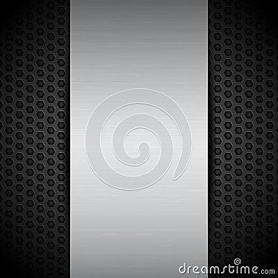 Free Brushed Metallic Panel On Black Mesh Royalty Free Stock Photos - 34413188