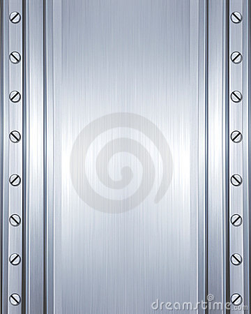 Brushed steel plate with screws