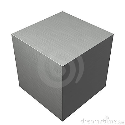 Brushed texture metal steel cube