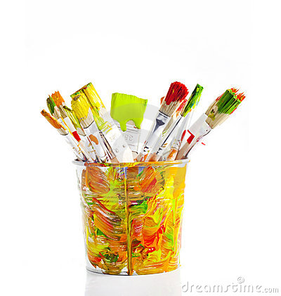 Brushes in the colorful bucket