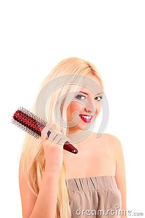 brushing   long hair