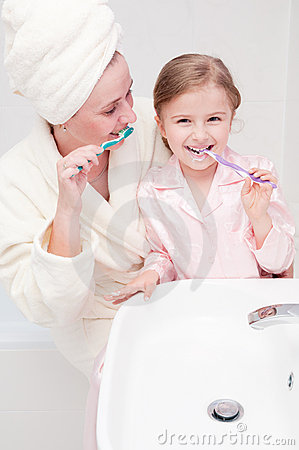 Brushing teeth together
