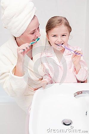 Brushing teeth together