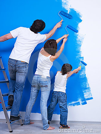 Free Brushing The Wall By Family Stock Photos - 13993883