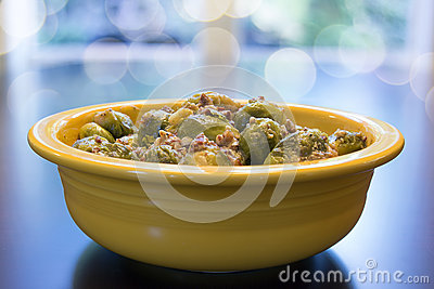 Brussel Sprouts with Pancetta Bokeh Background