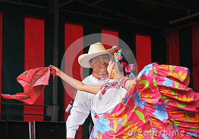 Xochicalli Mexican folkloric ballet in a concert on Grand Place Editorial Photography