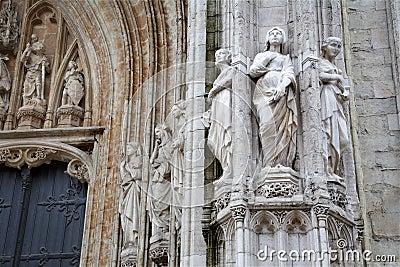 Brussels - main portal of Notre Dame du Sablon
