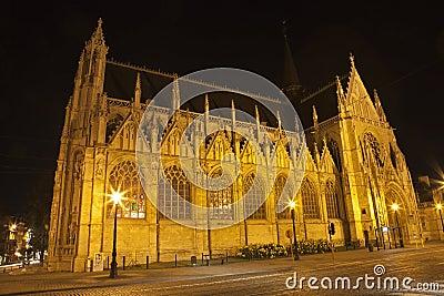 Brussels - Notre Dame du Sablon church at night