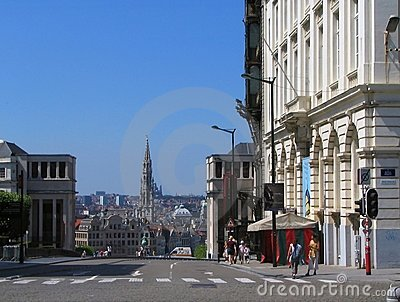Brussels old downtown cityscape.