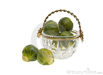 Brussels sprouts in a cut-glass bowl