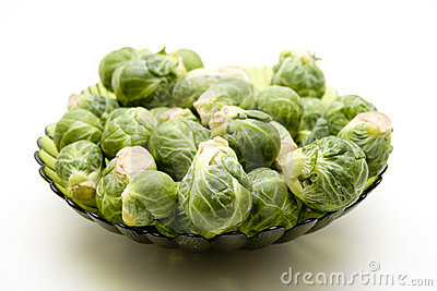 Brussels sprouts in the glass bowl