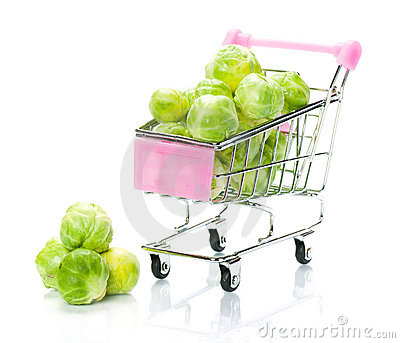 Brussels sprouts in the shopping cart