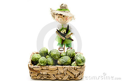 Brussels sprouts with straw doll