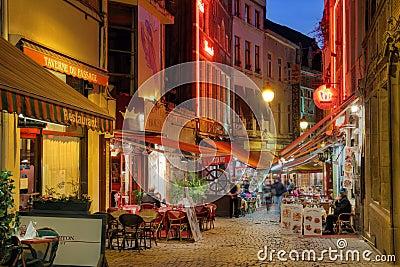 Brussels restaurants, Belgium Editorial Stock Photo