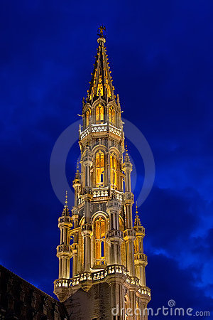 Brussels Tower at Night