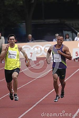 Bryan Clay and Oleksyi Kasyanov at IAAF decathlon Editorial Image