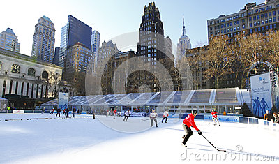 Bryant Park Ice hockey Editorial Photo