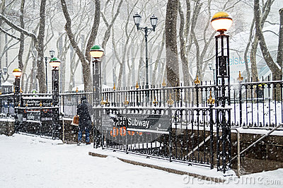 Bryant Park Subway Snow Editorial Stock Photo