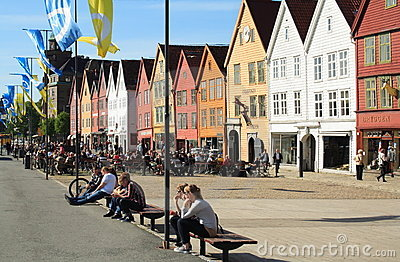 Bryggen in Bergen, Norway, during the summer Editorial Photography