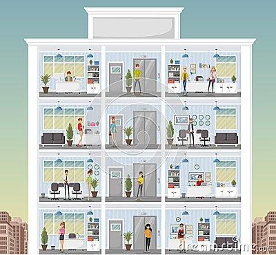 b timent avec des gens d 39 affaires de bande dessin e travaillant dans l 39 espace de travail de. Black Bedroom Furniture Sets. Home Design Ideas
