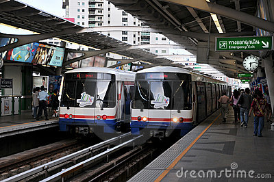 BTS or Sky Train at a Bangkok Station Editorial Photography