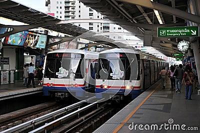 BTS or Sky Train at a Bangkok Station Editorial Photography