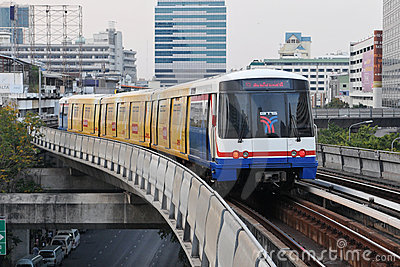 BTS Skytrain in Bangkok Editorial Photo