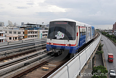 BTS Skytrain in Bangkok - Mass Rail Transit System Editorial Stock Image