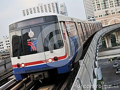 BTS Skytrain on Elevated Rails in Bangkok Editorial Stock Photo