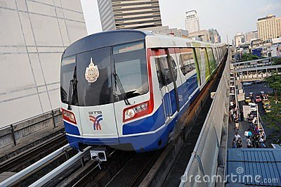 BTS Skytrain on Elevated Rails in Central Bangkok Editorial Image