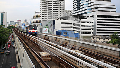 BTS Skytrain runs on elevated rails Editorial Stock Photo