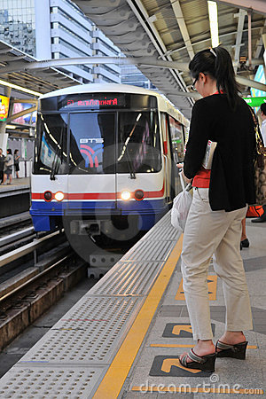BTS Skytrain at a Station in Central Bangkok Editorial Stock Image