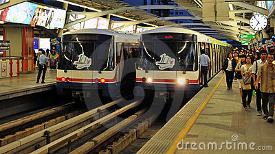 BTS Trains or Skytrains at a Station in Bangkok Editorial Stock Photo