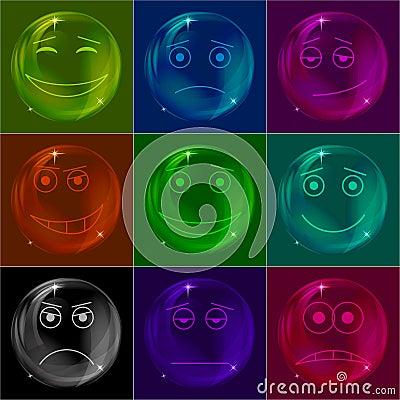 Bubblar smileys som är färgrika