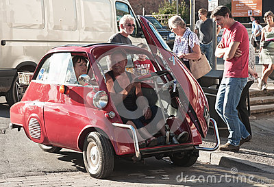 Bubble car: door opening at front Editorial Stock Photo