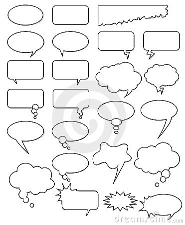 Free Bubble Cartoon Comic Book Speech Vector Comics Empty Text Box Thought Elements Element Cloud Talk Shape White Black Set Collection Stock Photos - 9046073