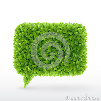 Free Bubble For Speech Green Leaves. Royalty Free Stock Photos - 24901488