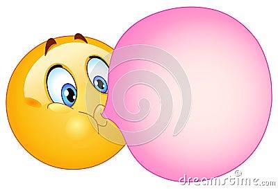 Bubble gum emoticon