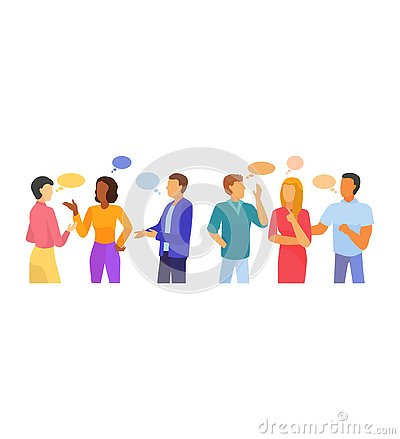 Bubble people vector bubbling speech communication and group of man woman friends discussion illustration set of person Vector Illustration
