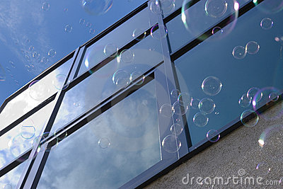 Bubbles against window