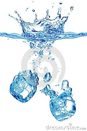 Bubbles in blue water