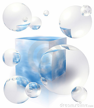 Free Bubbles Floating Around The Box With Blue Sky Royalty Free Stock Images - 4177339