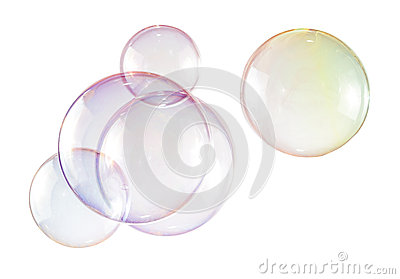 Soap bubbles in white background