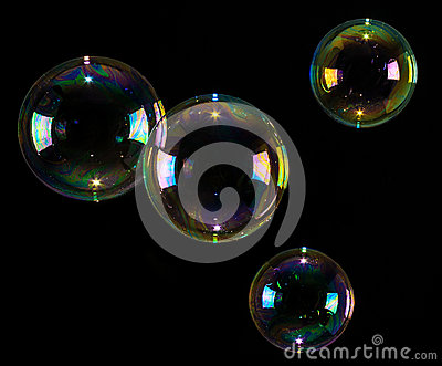 Bubbles floating over black background